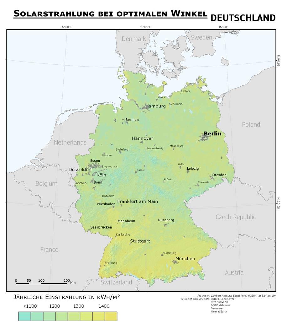 Sonnenstrahlung Deutschland
