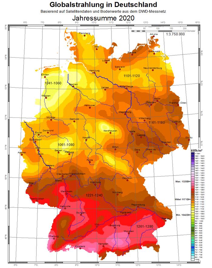 Globalstrahlung Deutschland Karte