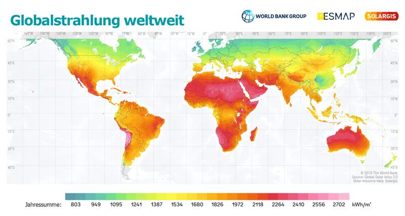 Globalstrahlung weltweit