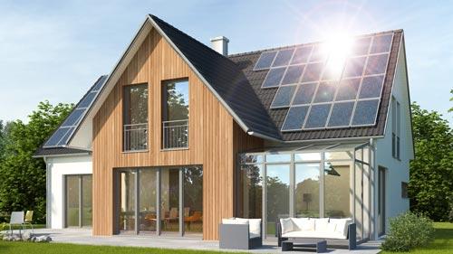 Einfamilienhaus Photovoltaik mit Wintergarten